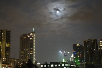 Full Christmas Moon - Downtown from Lamar Pedestrian Bridge