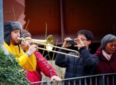 Trombone Making Its Way Down the Ramp