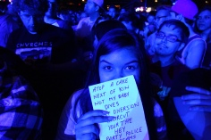 Lucky fan gets copy of Alvvays set list at end of the band's show at Stubbs BBQ in Austin, TX, April 27, 2016.